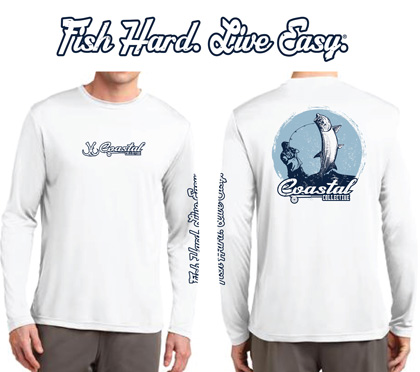 Tarpon themed long sleeve dri fit fishing shirt
