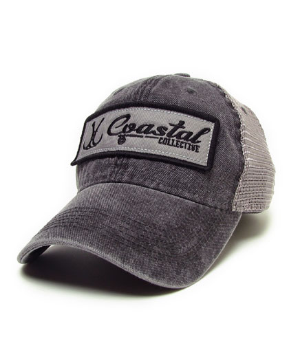 Washed Black Trucker Style Hat with Patch