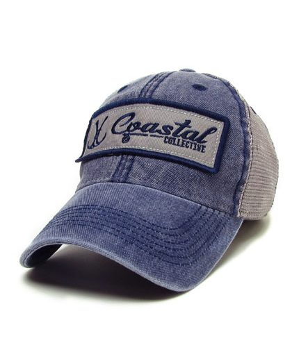 Navy and Grey trucker style patch hat.